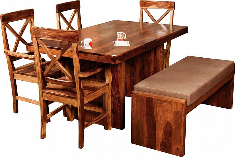 65cd5af672035 Solid Wood 6 Seater Dining Set with Hand Rest chair and bench