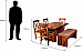 Solid Wood 6 Seater Dining Set with Hand Rest chair and bench