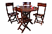 Round Dining table and chair set collapsible chair solid wood