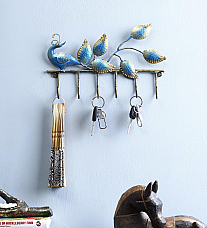 Peacock 6 Hook Key Hanger