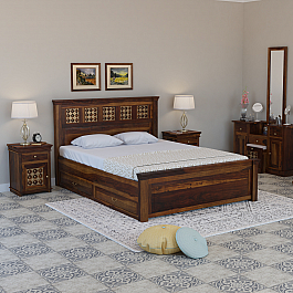 Fusion Solid Wood King Size Drawer storage Bed