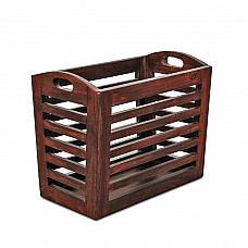 Bucket Magazine Rack Classic :: Mango Wood