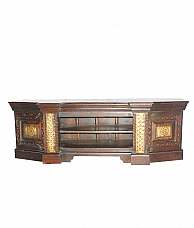 Mahogany Entertainment Unit with Brass Finish