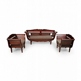 Romania Sofa Set 5 Seater :: 3+1+1 + Center Table :: Indo Roman
