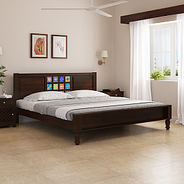Maha Solid Wood Tile King Size Bed