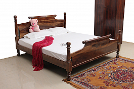 Raja's Message ::  Scroll Queen Bed in Sheesham Wood