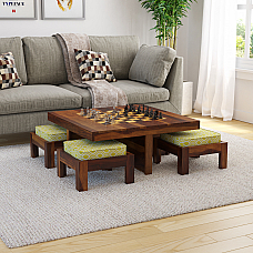 KHIMSAR 4 STOOL CHESS DESGIN COFFEE TABLE WITH FOUR STOOL
