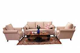 Plush Retro Couch :: 3+1+1+ Alfa industrial coffee table