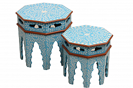 Sky Palace :: Set of 2pcs End Tables Handpainted art piece