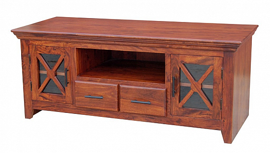Wooden Double Cabinet Media Center