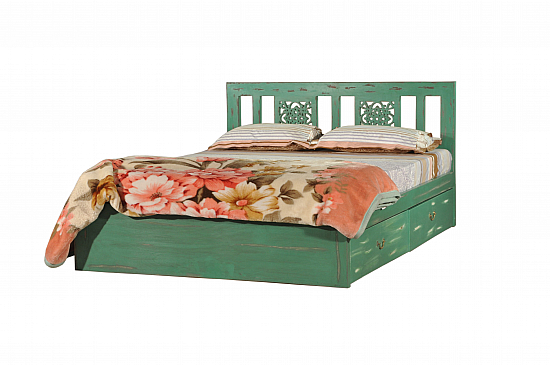 Sparta Queen sized bed Wooden Bed with storage in Distressed Green finish.