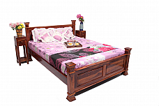 Anglo Indian Seesham wood Queen size Bed Natural Patina
