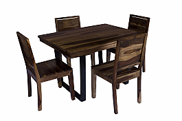 Arabia solid top with Iron legs four seater dining set