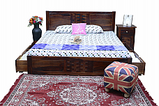 Sylvia Solid Wood Queen Drawer Bed.