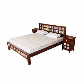 Alisha Tiled Bedroom Set :: King Size Bed + 2 pcs Bedside :: Roots Rerun