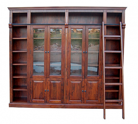 Artistic Wooden Bookshelf with Doors