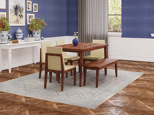 Lawrence Dining table set of 4 chair and bench