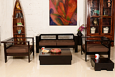 Made of Mettle :: Sofa Set :: 2+1+1, 1 Centre Table, 1 End Table :: Roots Rerun