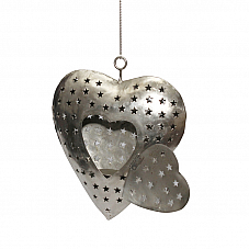 Hanging Heart candle Stand in Nickle