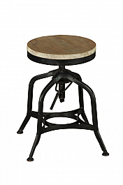 Industrial Iron Stool Black