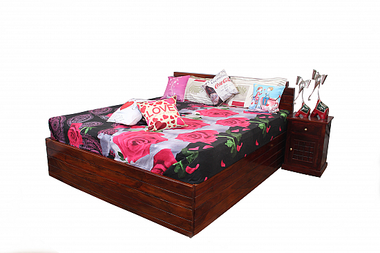 Subrato King size Storage bed Modern bed Sheesham wood