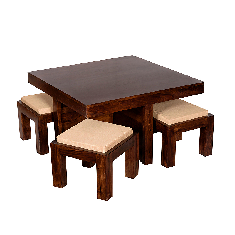 Vivanta 4 Stool And Square Center Table Essential