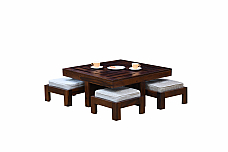 Solid wood coffee table with 4 stools