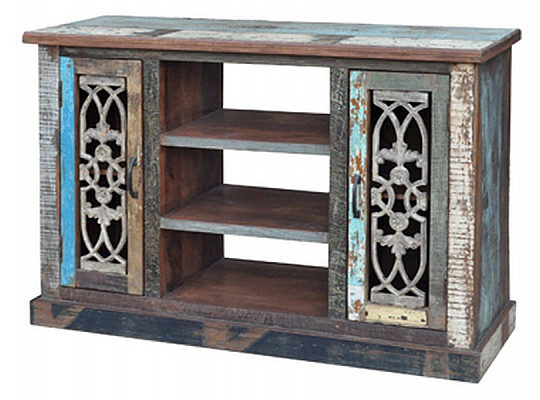 Iron Grill Recycle Wooden Cabinet