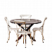 Silver iron chair meets wooden finish :: 4 seater Dining Table :: Contemporary - Industrial