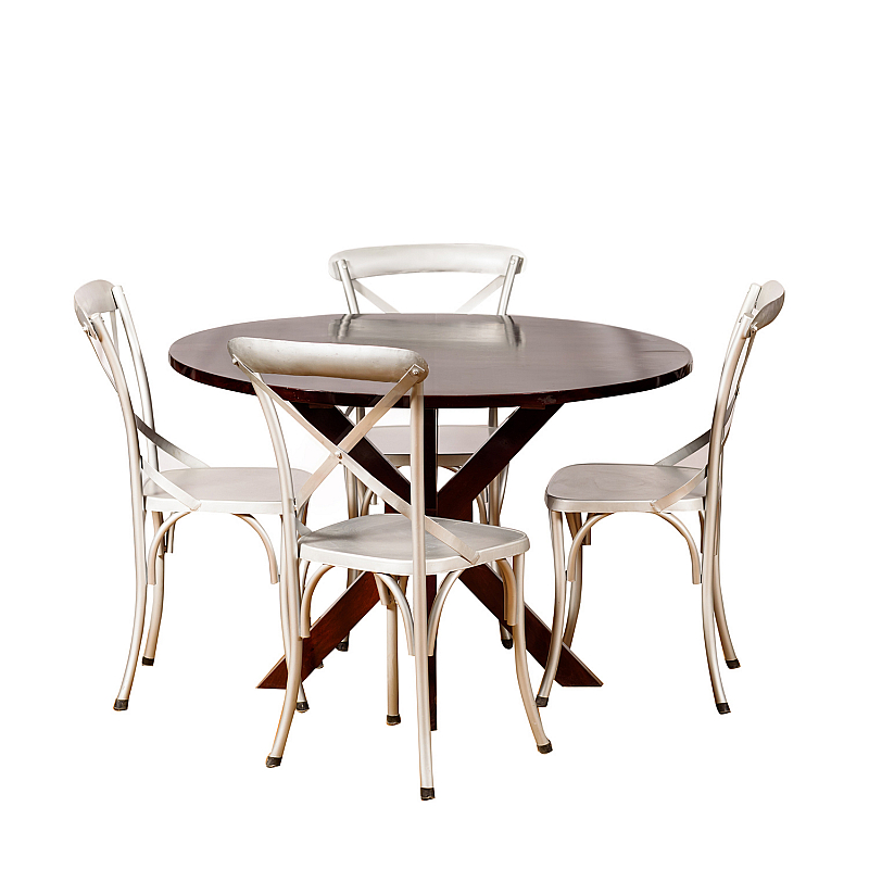 Silver On A Chair 4 Seater Dining Table Contemporary