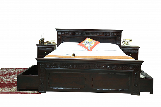 Traditional Block Print Carved Wooden Bed Queen size