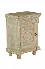Victorian Carved & Distressed Bedside Night stand