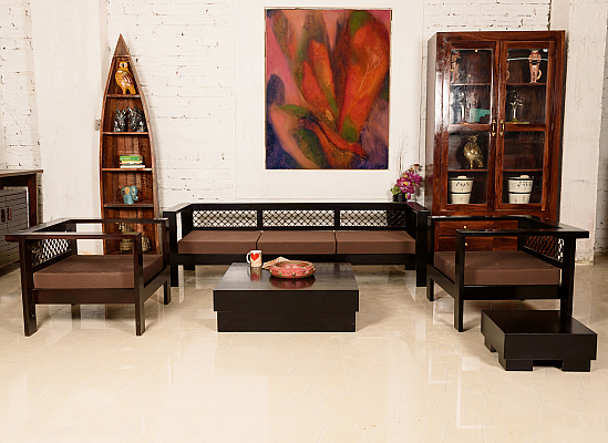 Made of Mettle :: Sofa Set :: 3+1+1, 1 Centre Table, 1 End Table :: Roots Rerun