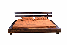 Si atom Japanese platform Queen bed Modern Solid wood
