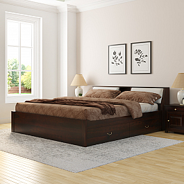 Soman solid wood king size bed with storage