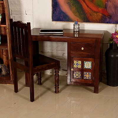 Lekhak Writing Desk :: Tiled Cabinet Door