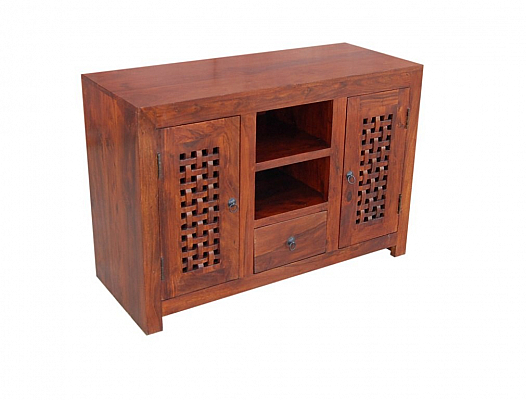 Two Door 1 Draw Wooden Open Cabinet