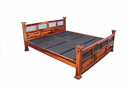 PANCHAM Bed Spanish  flavour Queen Size Wooden bed with Flower motif headboard