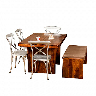 Silver Wood Dining Table :: Metal Chairs + Bench :: Contempo