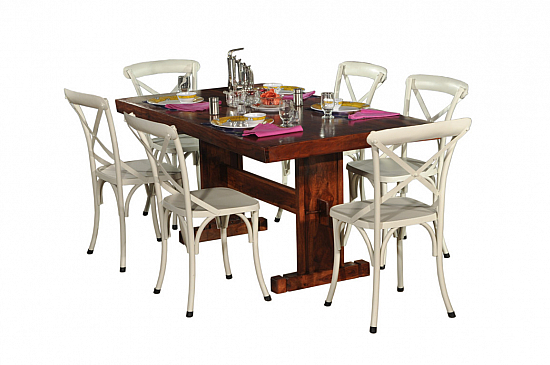 Spartan Wooden Dining Table with industrial Iron chair
