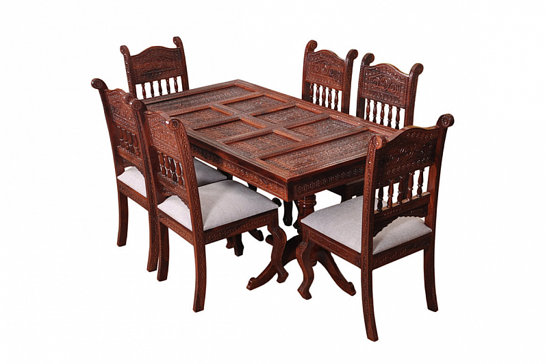 Royal sheesham wood dining table set fusion of rich for Modern dining chairs india