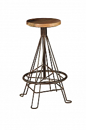 Industrial Iron Stool Brown