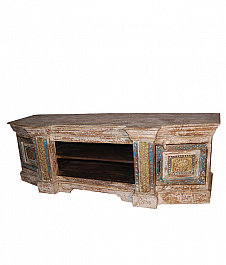 Multicolored Entertainment Unit with Brass Finish