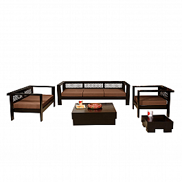 Made of Mettle :: Sofa Set :: 3+ 2 +1, 1 Centre Table, 1 End Table :: Roots Rerun