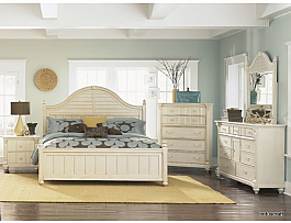 White Finish Contemporary Mango Wood Bedroom Set