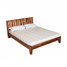 Trendy Queen size Bed in seesham wood With slented Back