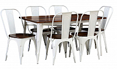 Chick n Check Dining table and 6 chair set Industrial Retro