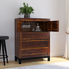 Shimoga Solid Wood Bar Cabinet honey teak