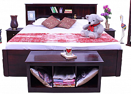 Valentine Bedroom Set of 4pcs  - King Size Storage bed +Bedside +Blanket chest