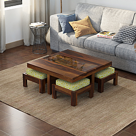 Antilia Diamond Solid Wood coffee Table glass Top :: Four Stool